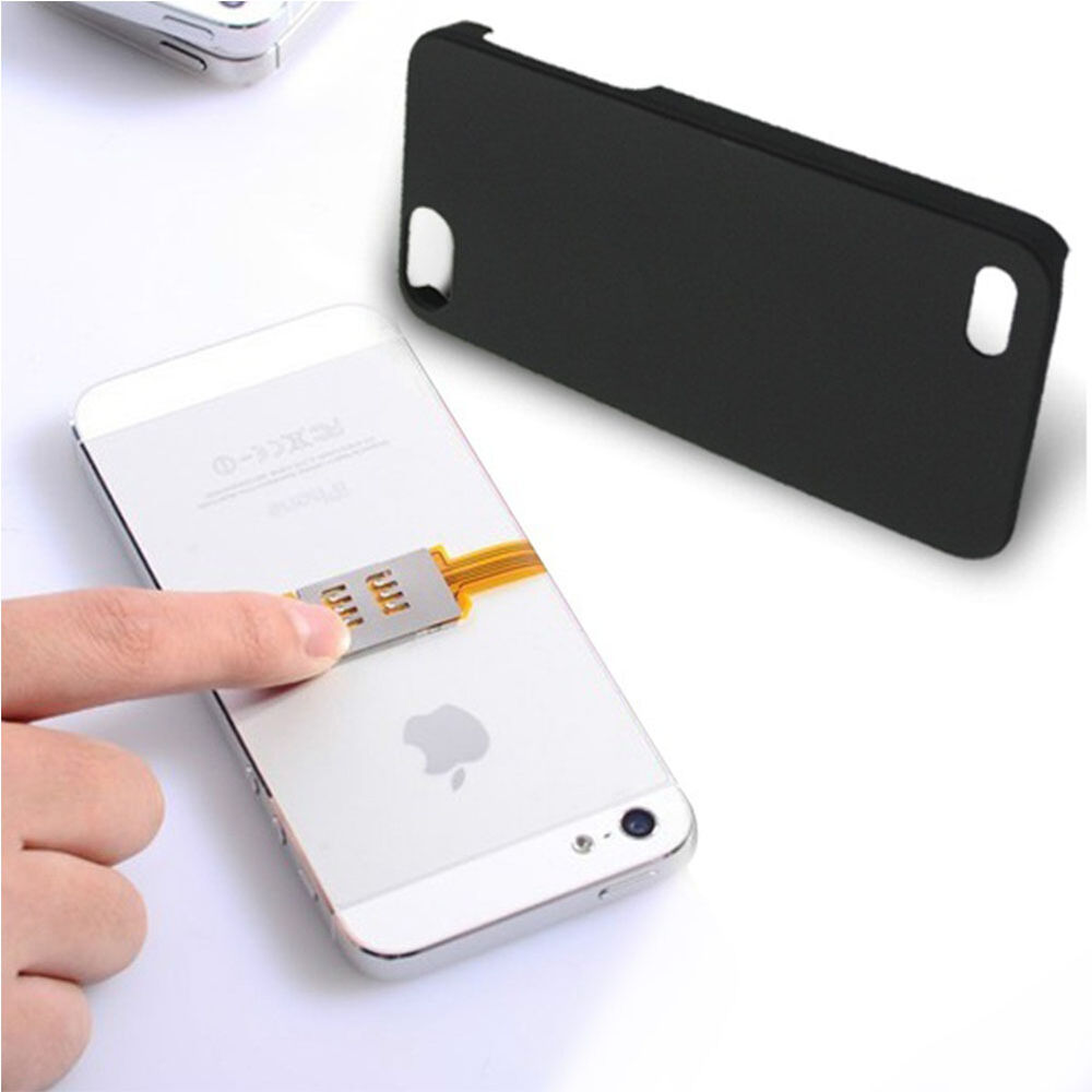 new two sim dual sim card double chip card adapter holder case for iphone 5 5s 6 ebay. Black Bedroom Furniture Sets. Home Design Ideas