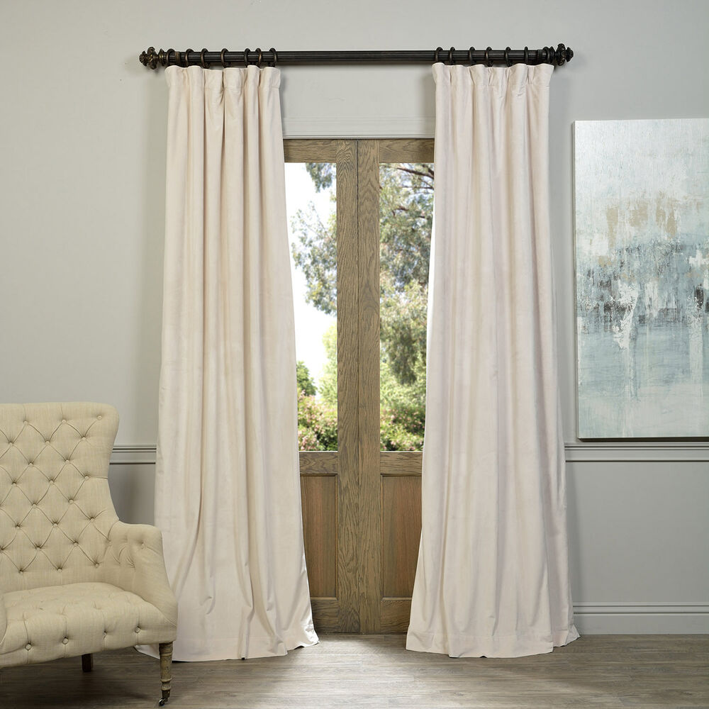 Exclusive Fabrics Signature Ivory Velvet Blackout Curtain
