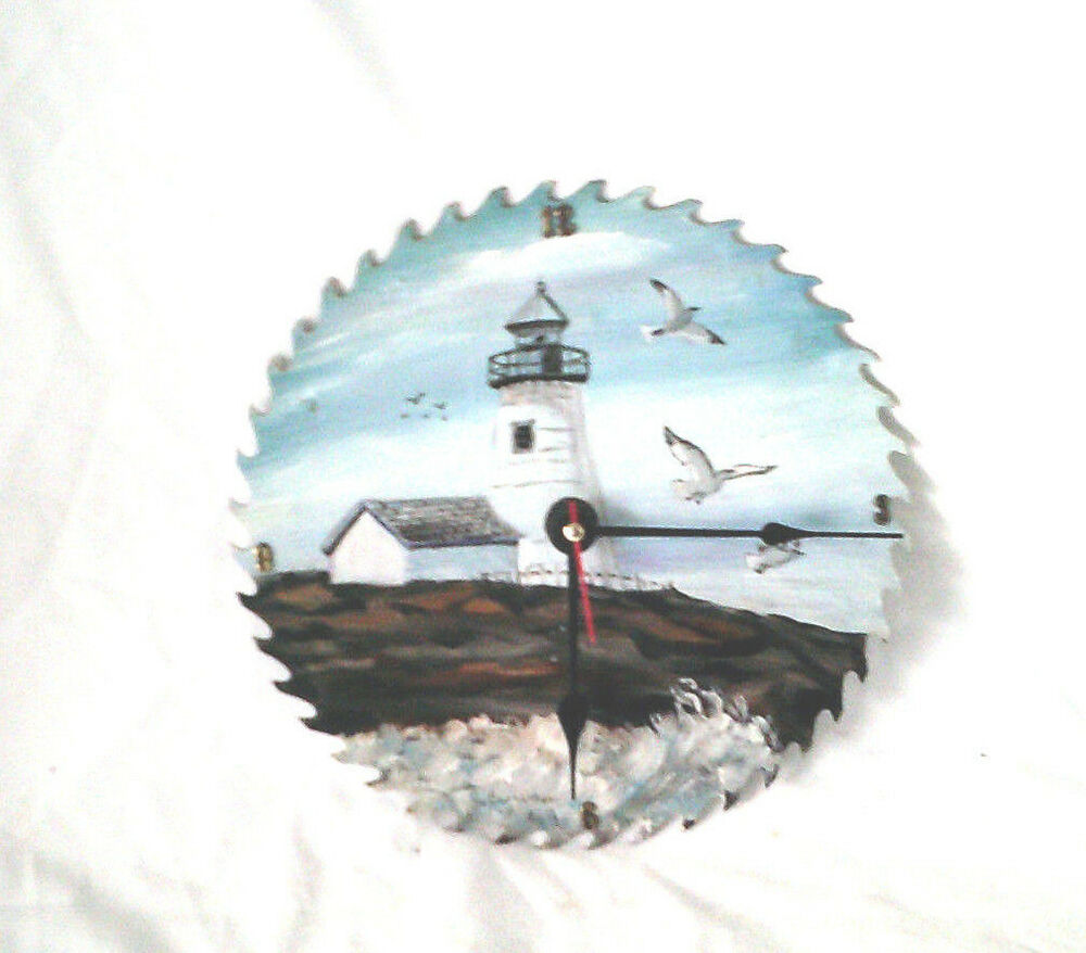 Unique Hand Painted Circular Saw Blade Clock Lighthouse