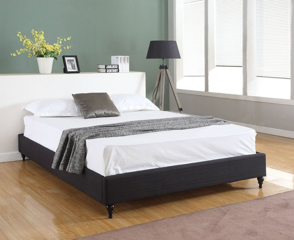 BLACK Cloth Fabric QUEEN Size Platform Bed Frame & Slats Chinese Modern Bedroom