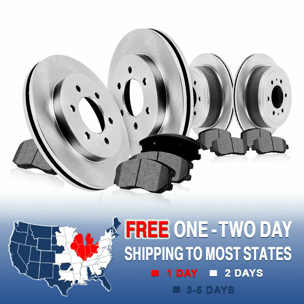 Sold 2004 2005 2006 2007 2008 Acura Tl Front Bumper Meugen: Front+Rear Rotors Metallic Pads For 2004 2005 2006 2007