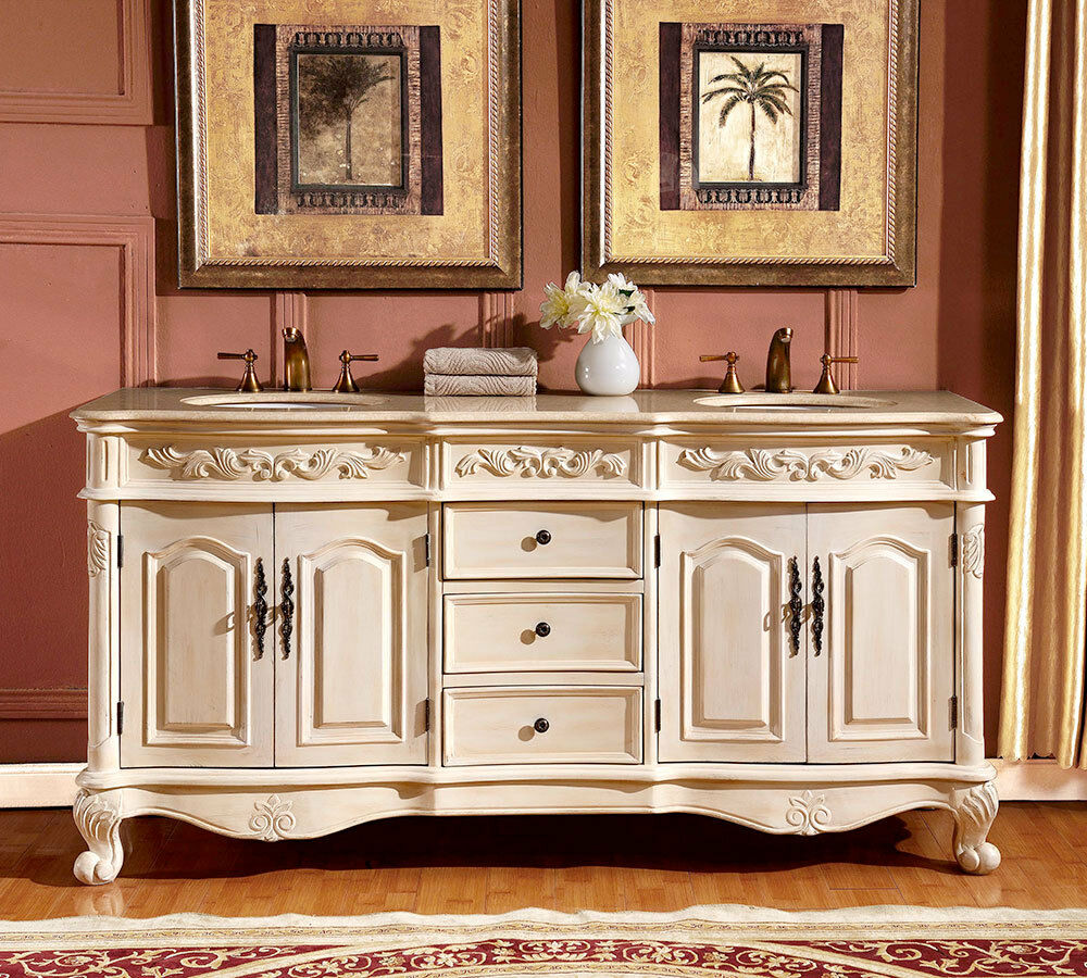 72 Inch Double Sink Vanity Marble Top Bathroom Cabinet