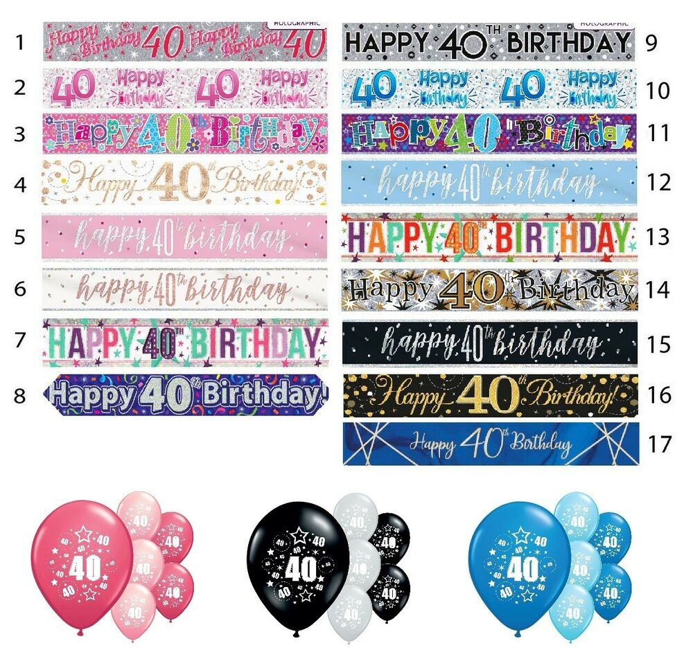 Details About 40th BIRTHDAY PARTY BANNERS AGE 40 DECORATIONS PINK BLUE BLACK