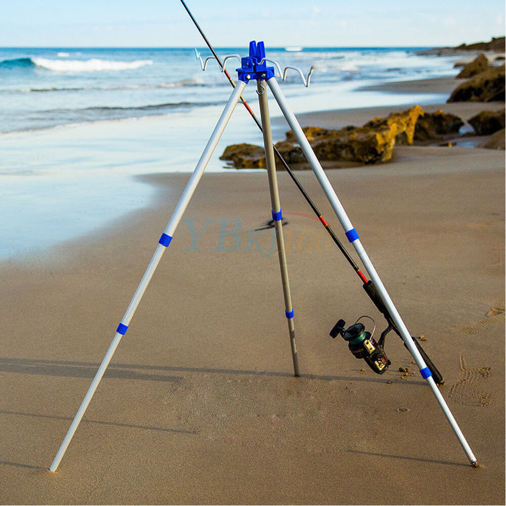 Telescopic fishing rod tripod stand rest fr sea beach for Surf fishing rod holders