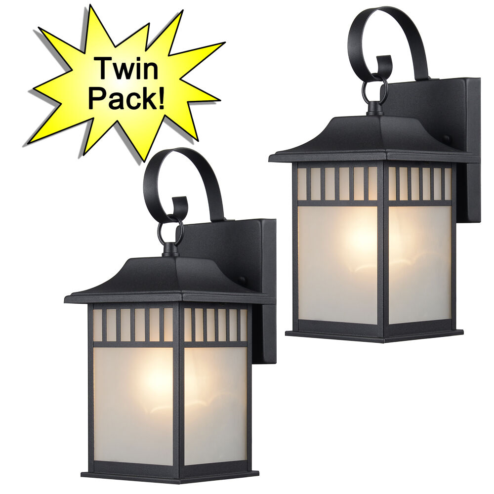 Textured Black Outdoor Patio Porch Exterior Light Fixtures Twin Pack 73476 Ebay