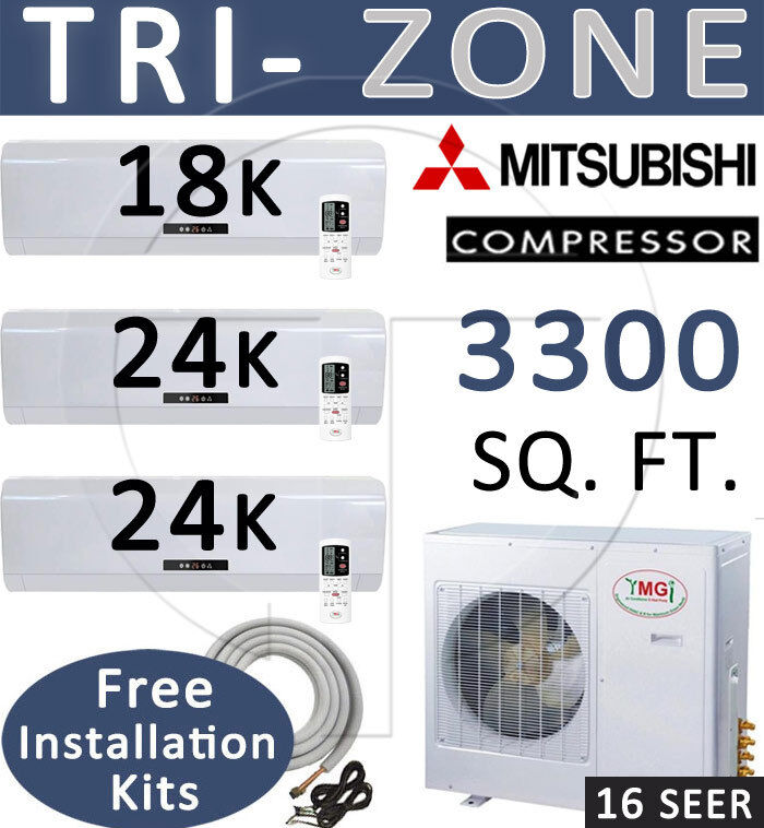 5 ton tri zone ductless mini split air conditioner heater 18000 rh ebay com Automotive Wiring Diagrams Residential Electrical Wiring Diagrams