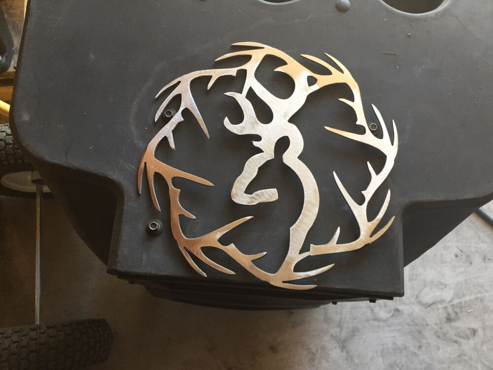 Plasma cut deer with antler ring cut out metal wall art for Metal art home decor