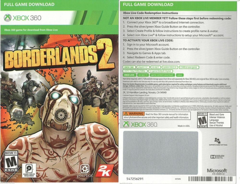 Borderlands 2 Full Game Download Code Card Microsoft Xbox ...