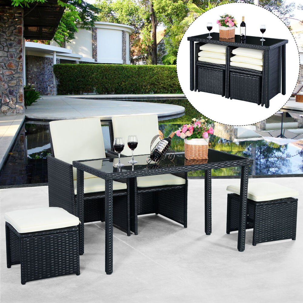 outdoor rattan patio furniture sets | 5pc Rattan Patio Set Outdoor Furniture Garden Table+2x ...