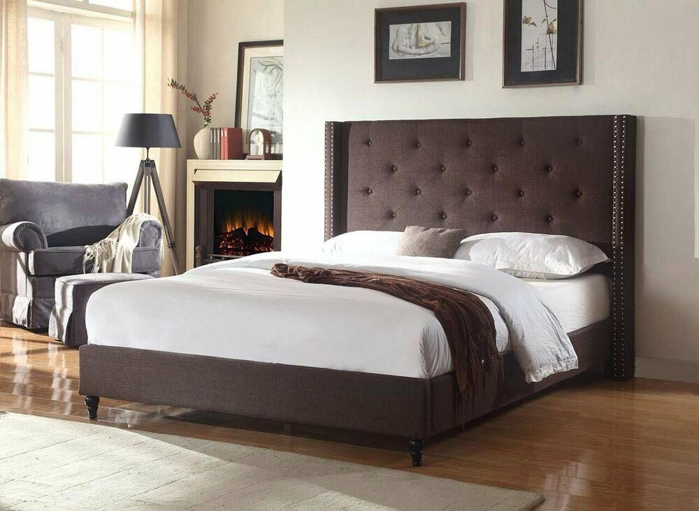 BROWN Fabric WingBack QUEEN Size Platform Bed Frame ...