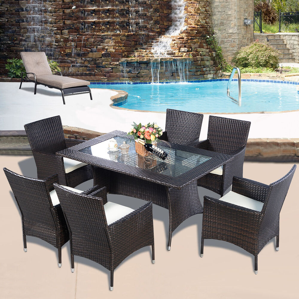 RATTAN FURNITURE DINING TABL CHAIRS DINING SET OUTDOOR GARDEN PATIO EBay