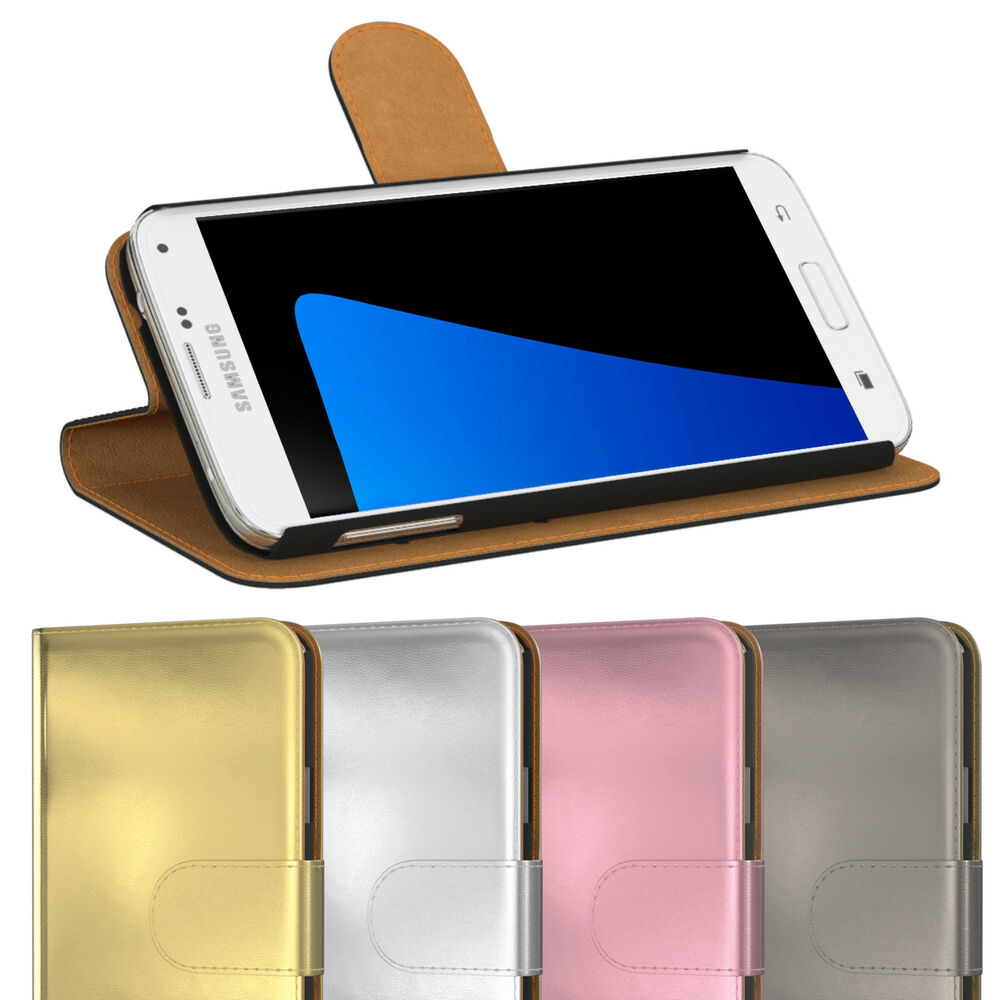 handy tasche f r samsung metallic optik flip cover case schutz h lle etui wallet ebay. Black Bedroom Furniture Sets. Home Design Ideas