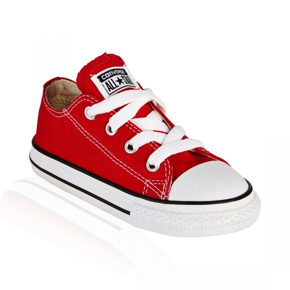 ee75df3cebdf Details about Converse All Star Ox Red White Canvas Boys Girls Infant  Toddler Shoes Sizes