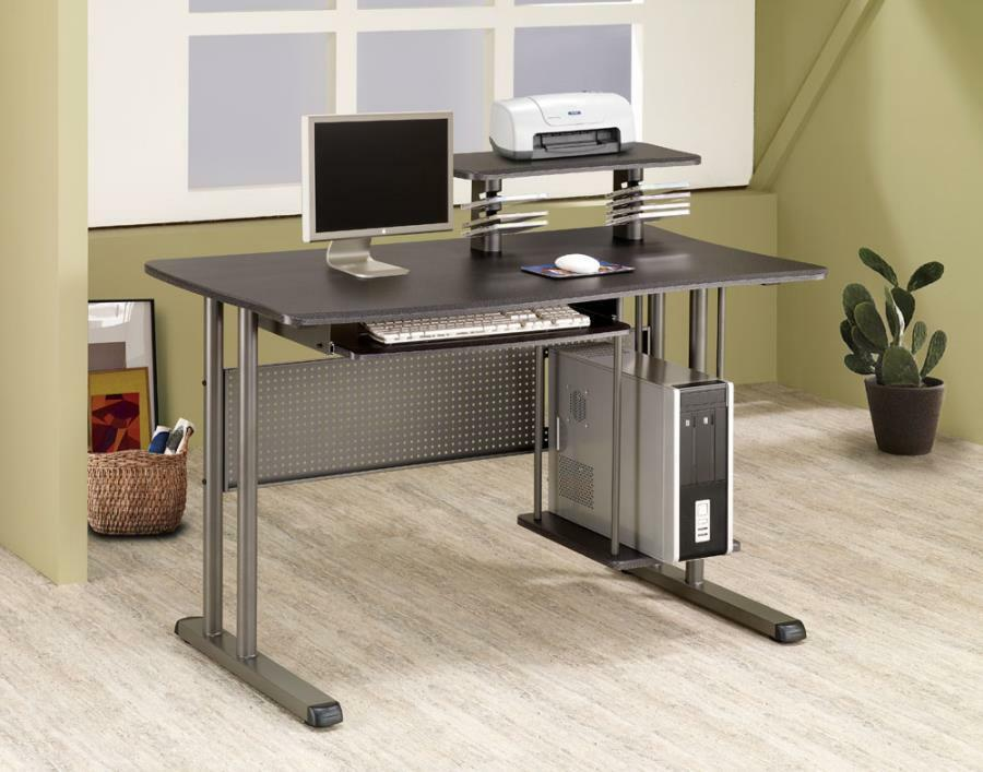 Computer Desk W CD Slots Coaster Home Office Furniture Black Finish