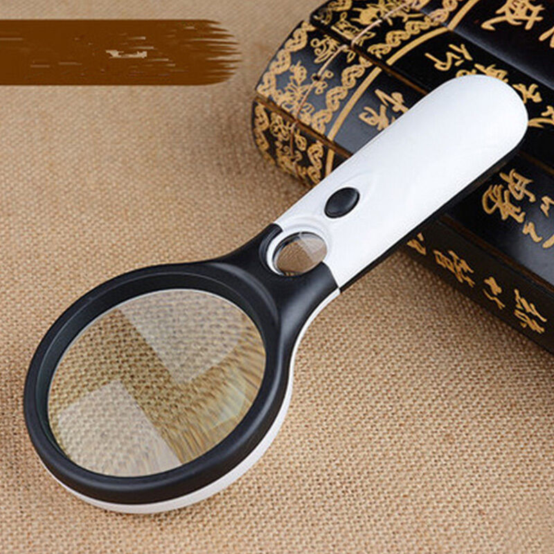 saling 3 led light 45x 3 handheld reading magnifying glass. Black Bedroom Furniture Sets. Home Design Ideas