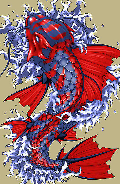 Red and blue fantasy japanese koi fish art print for Dragon koi fish for sale