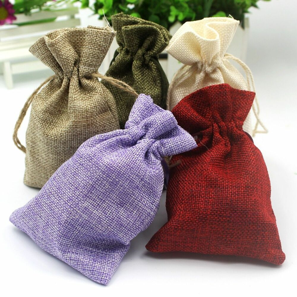Wedding Favour Gift Bags: 100 50 25 Natural Jute Hessian Drawstring Pouch Burlap