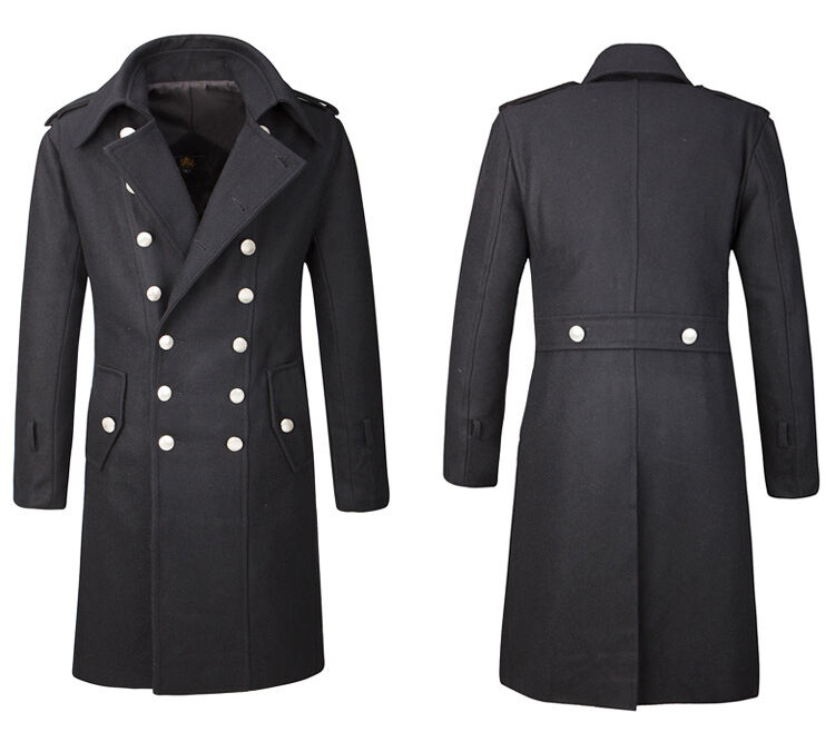 Mens Overcoat Jacket Wool Full Length Long Military Double