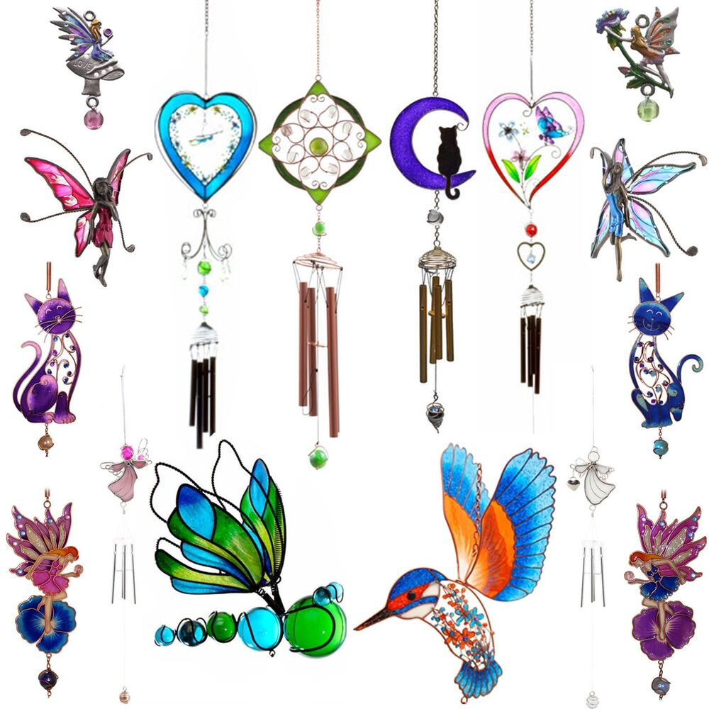Wind chimes garden outdoor ornament bird angel fairy for Outdoor butterfly ornaments