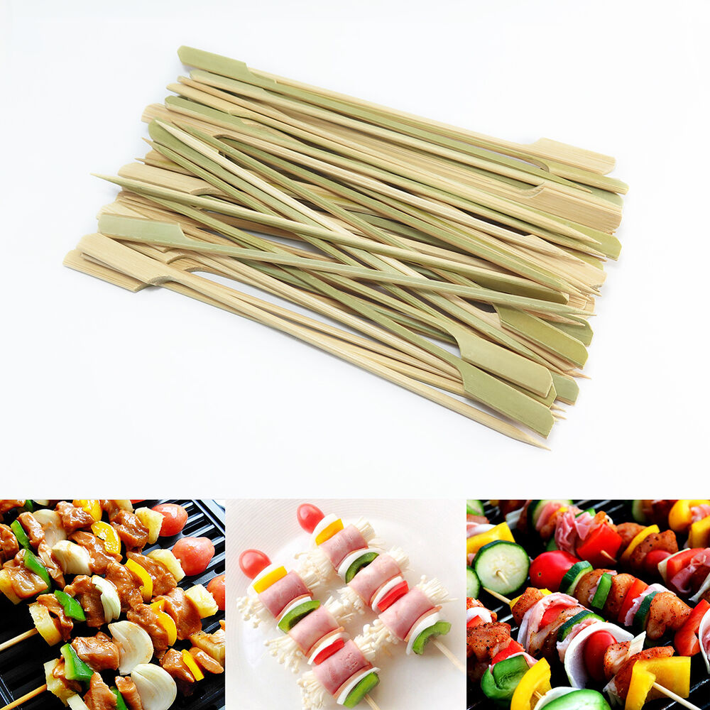 50 Pcs Bbq Skewer Bamboo Wood Stick Paddle Grill Party