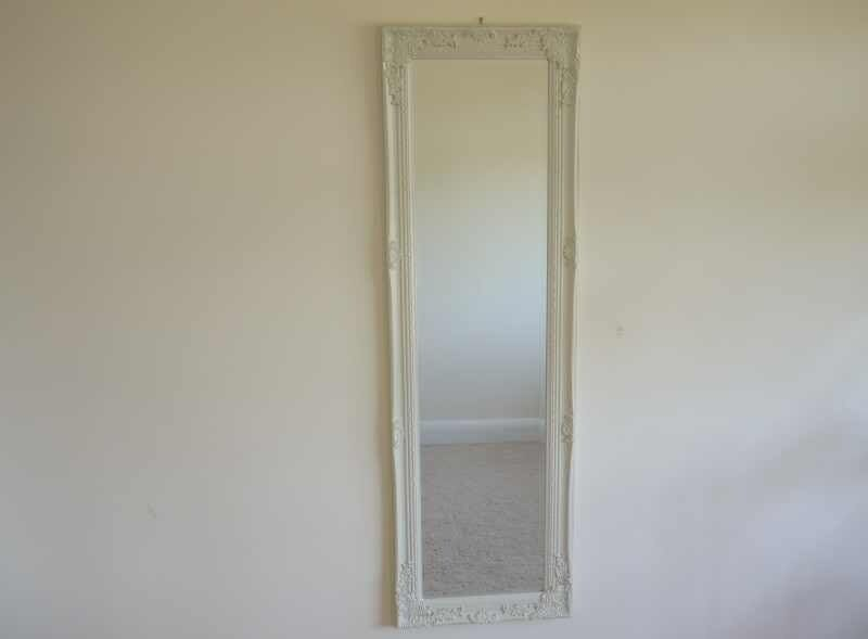 French style bevelled long cream mirror bedroom decorative for Long mirrors for bedroom