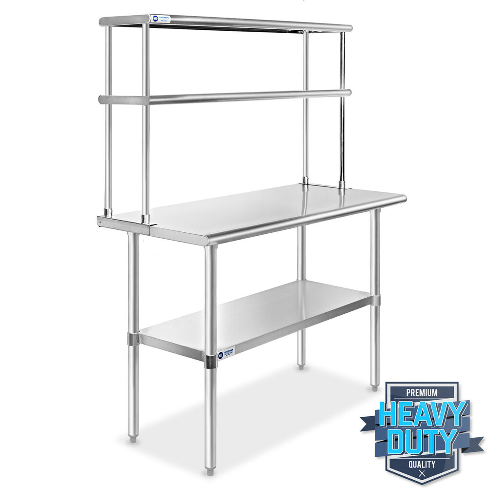Stainless steel commercial kitchen prep table with double overshelf 30 x 48 ebay - Industrial kitchen table stainless steel ...