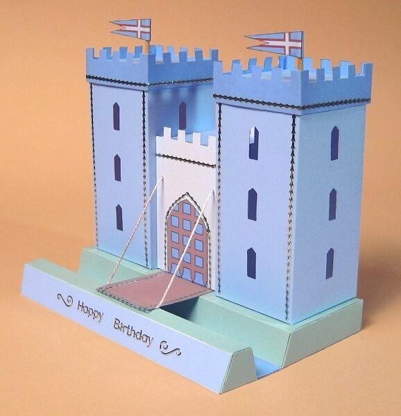 A4 card making templates for 3d opening castle display for Cut out castle template