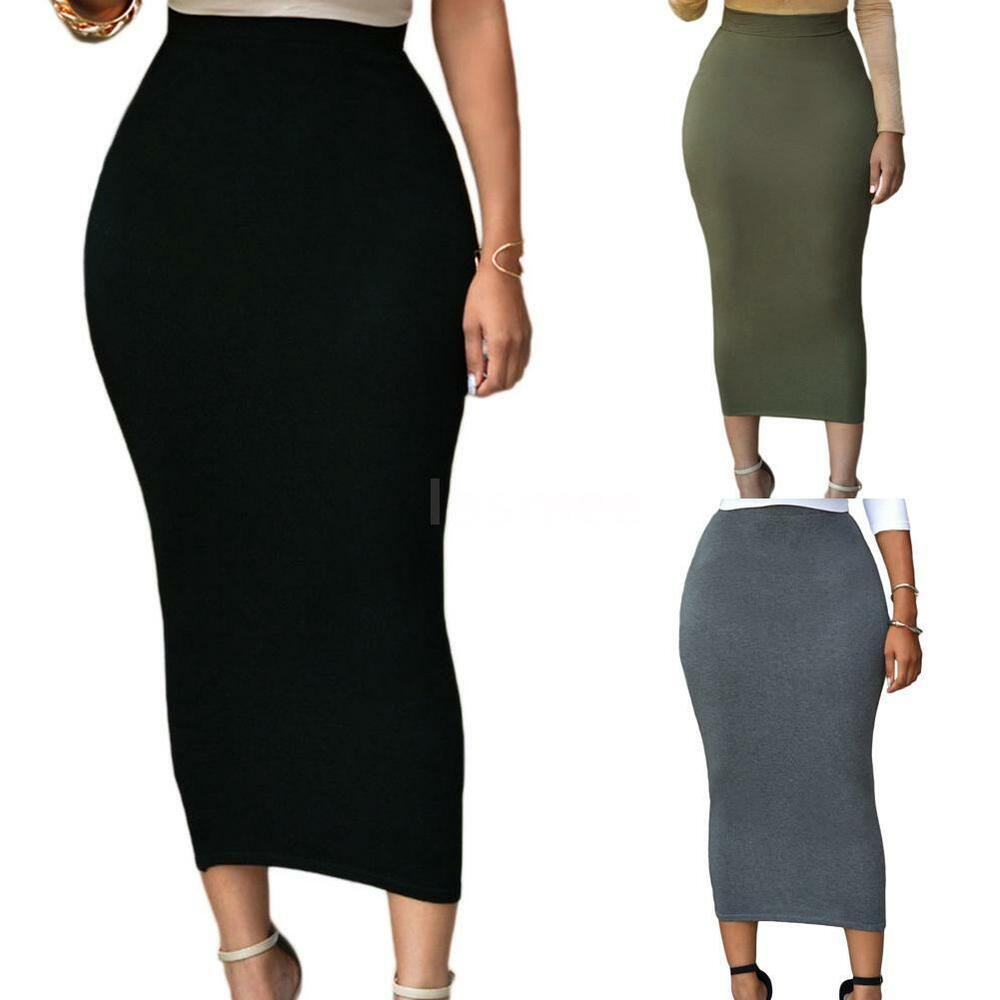 womens skirt high waisted stretch bodycon midi