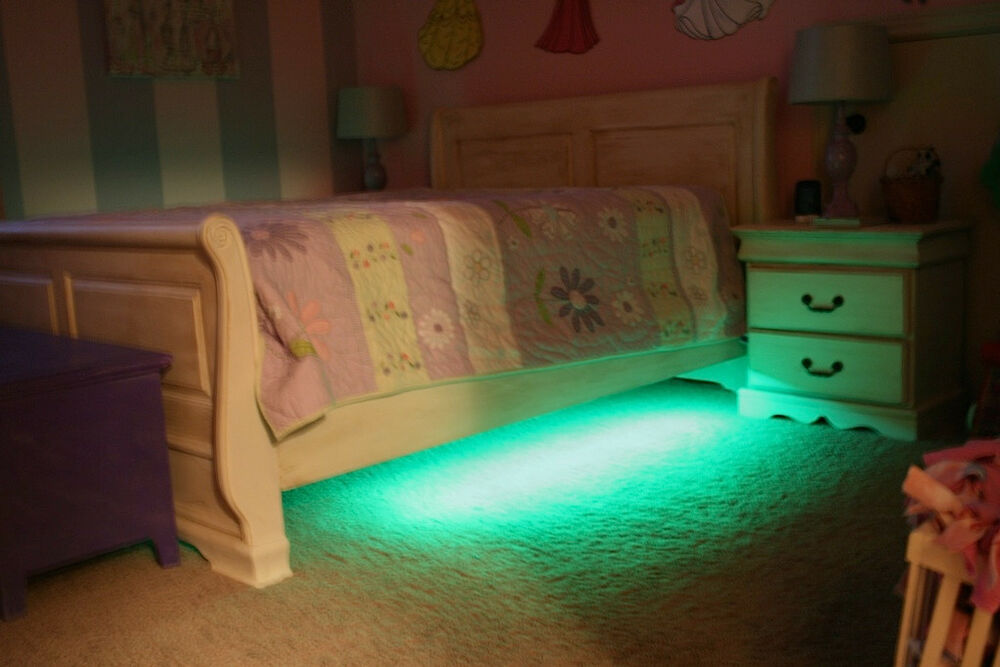 Kids Color Changing Under Bed LED Lights Bedroom Bed Mood Accent Ambient Kit : eBay