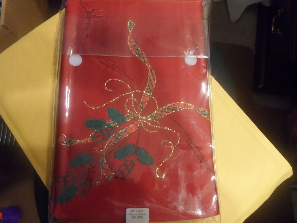 """LENOX HOLIDAY NOUVEAU CUTWORK RED TABLECLOTH 60"""" X 120 ..."""