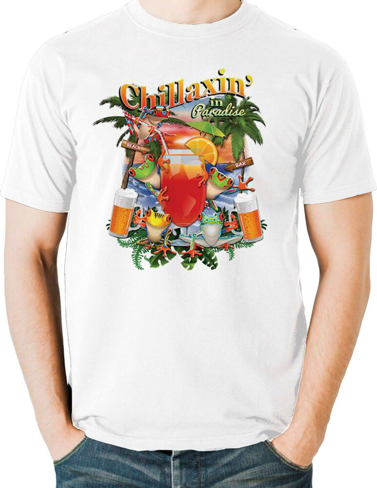 Chill t shirt beer drinking vacation cocktails paradise for Mens t shirts free shipping