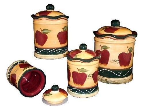 Kitchen canister set 4 pc hand painted apple country multi for Apple kitchen decoration set