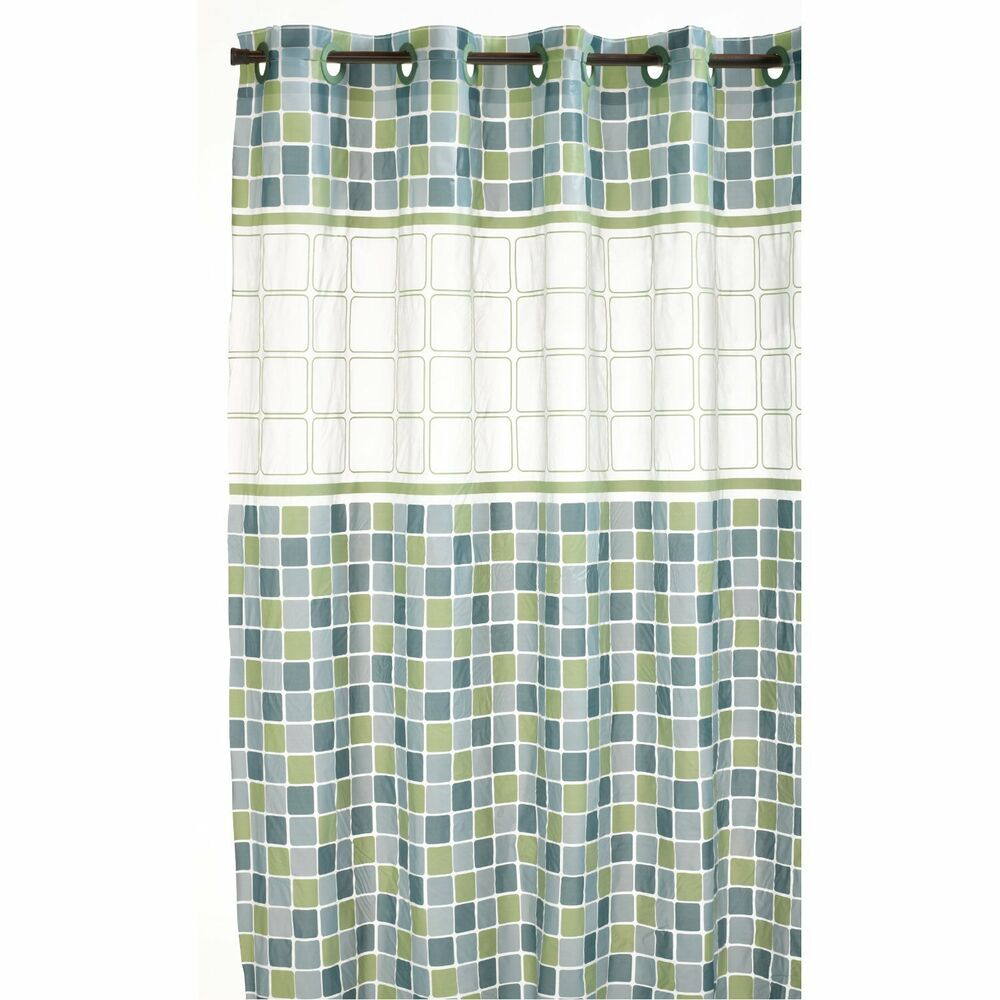 Brand NEW Hookless Mosaic Shower Curtain 71 By 74 White