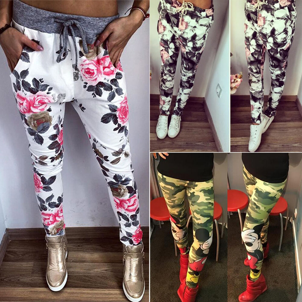 blumen leggins hose stretch leggings damen leggings jeggings sommer treggings ebay. Black Bedroom Furniture Sets. Home Design Ideas
