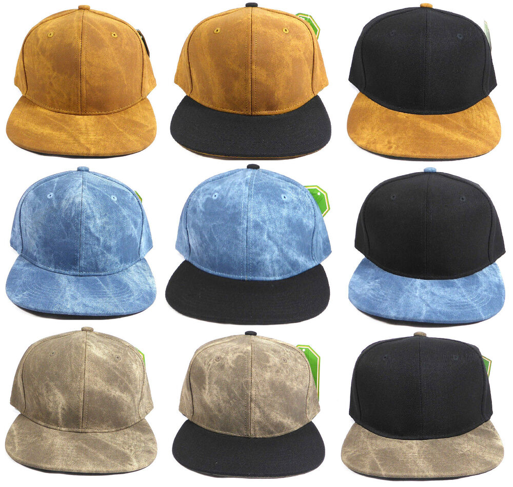 839db0a2d3c BLANK SUEDE SNAPBACK HAT CAP FLAT BILL ADJUSTABLE PLAIN SOLID BROWN BLUE  BLACK