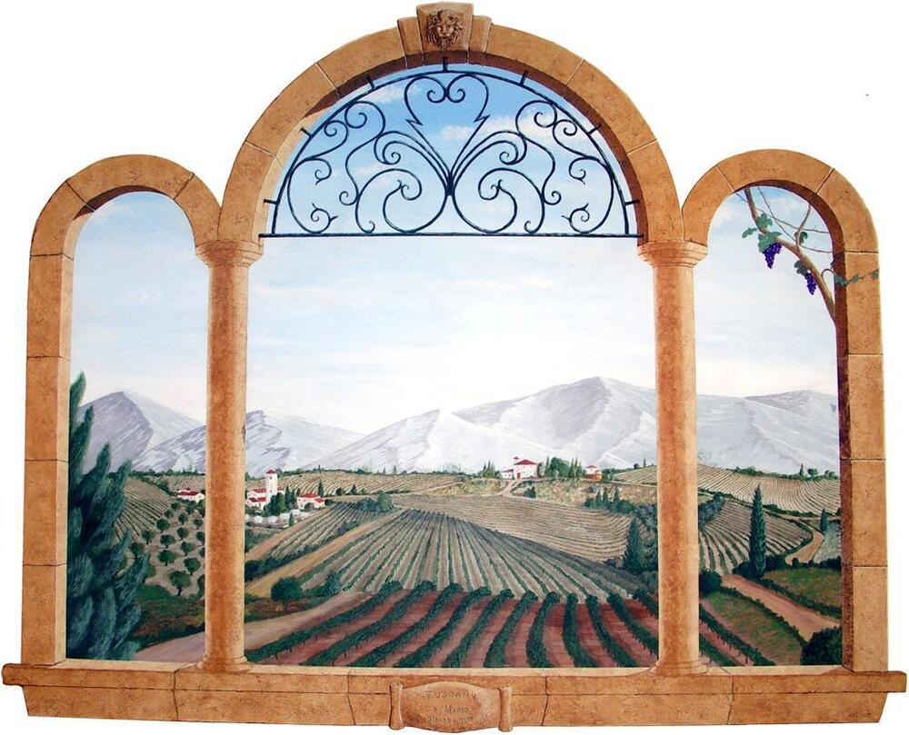 Tuscan 3D Ancient Window View Decal WALL STICKER Home