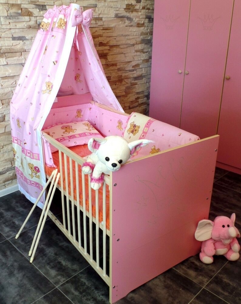 gitterbett komplett set babybett kinderbett 5 farben umbaubar 60x120 juniorbett ebay. Black Bedroom Furniture Sets. Home Design Ideas