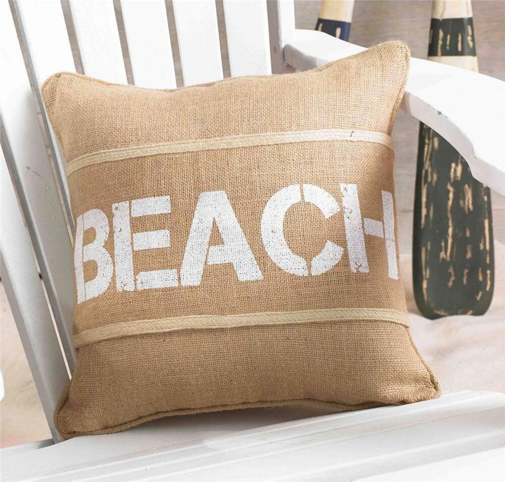 Decorative Pillow Wraps : Mud Pie Summer BEACH House Burlap 15