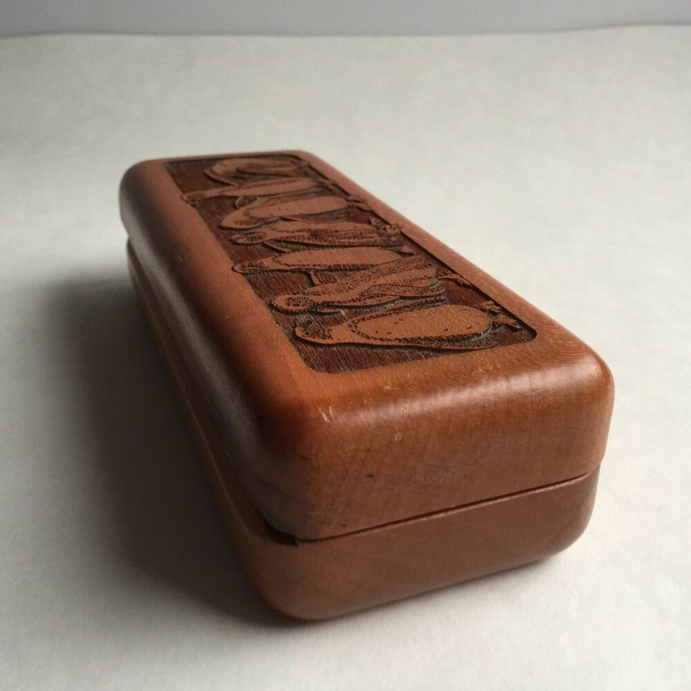 Wooden hand carved eyeglasses case or jewelry box by for Jewelry box made of wood