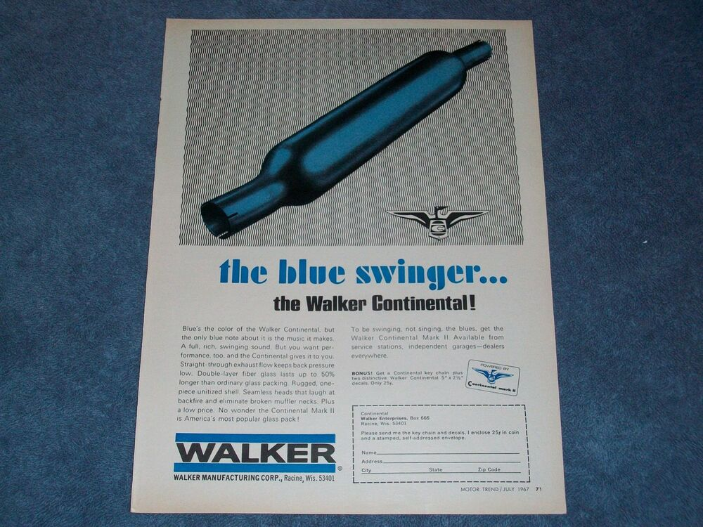 """1967 Vintage Walker Glass Pack Exhaust Ad """"The Blue ..."""