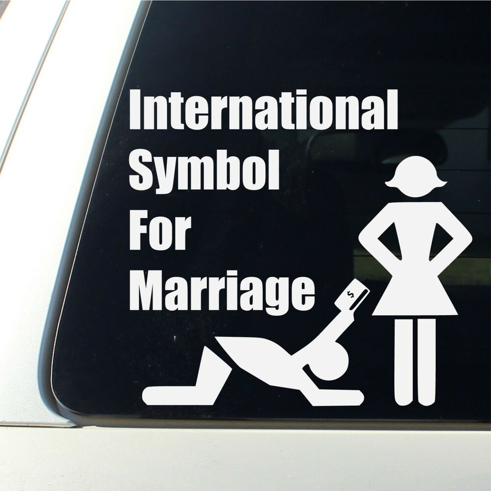 International Symbol For Marriage Car Decal Funny Bumper