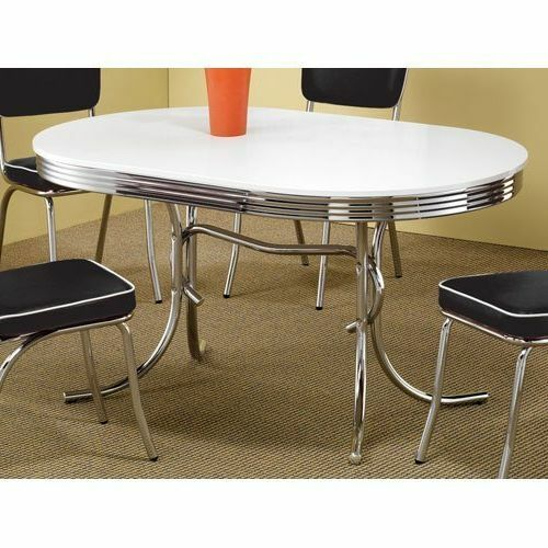 Vintage Chrome Kitchen Table: Retro Dining Table Vintage 50's Mid Century Modern Style Chrome Kitchen Oval