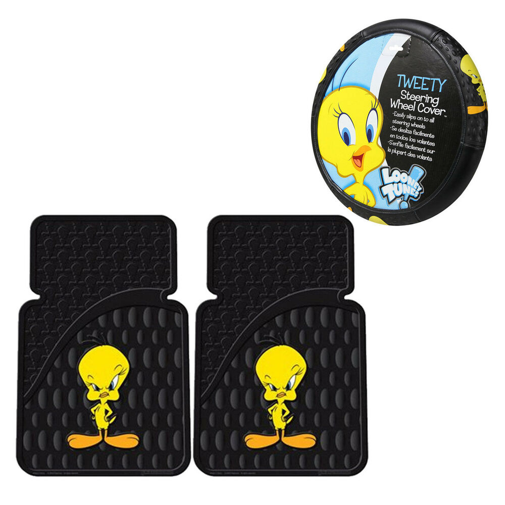 new 3pc set looney tunes stars tweety bird steering wheel cover floor mats ebay. Black Bedroom Furniture Sets. Home Design Ideas
