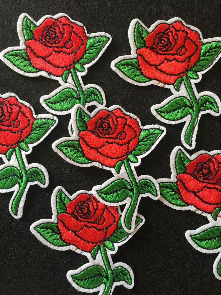 Pcs the red rose love iron on sew machine embroidery