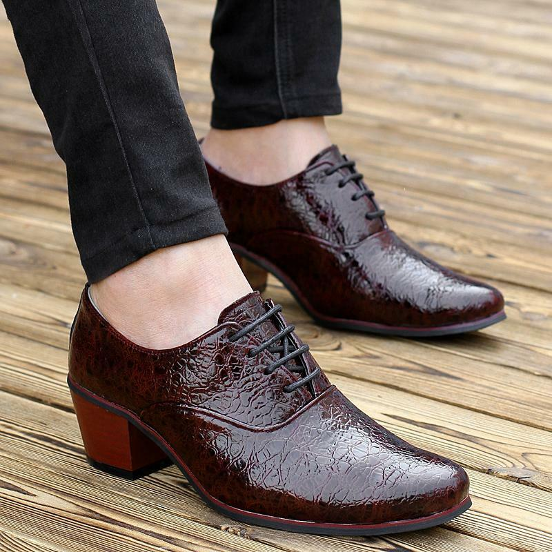 s pointy toe high heel casual lace up business oxford