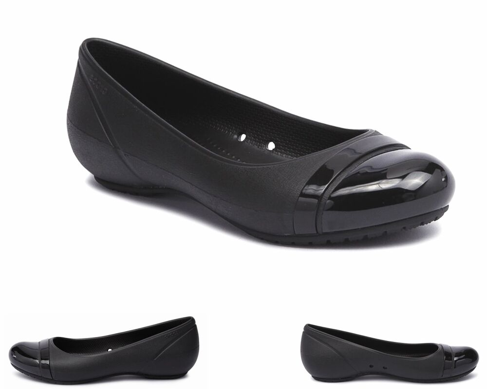 Womens Crocs Flat Toe Flat Slip On Black Ladies Work Shoes