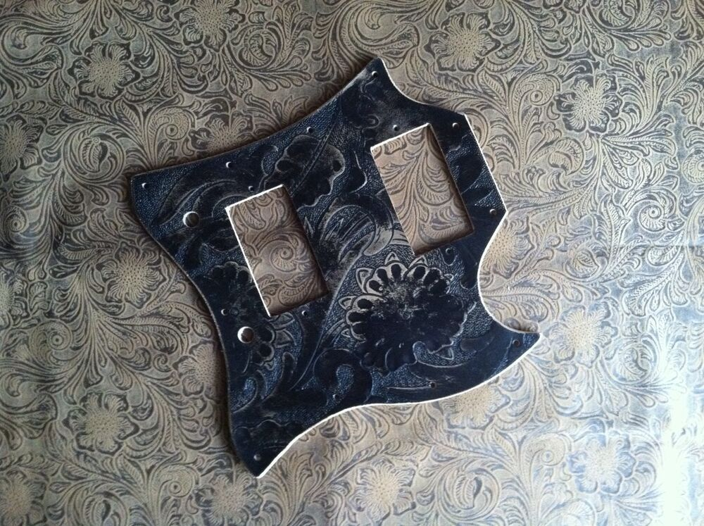 Hand tooled carved custom leather pickguard gibson sg