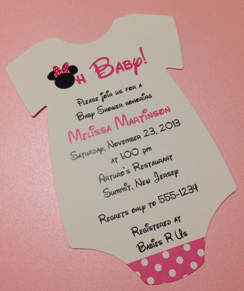 20 Pink Minnie Mouse Baby Shower Invitation - Wording Customized For ...