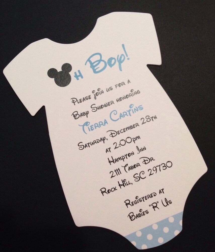 Awesome Blue Mickey Mouse Baby Shower Invitation   All Wording Customized For You |  EBay