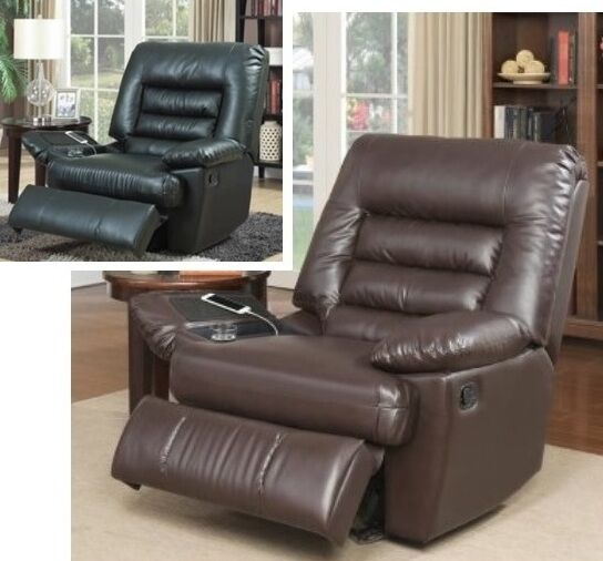 Big Amp Tall Brown Black Leather Massage Recliners Armchair
